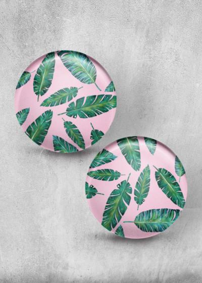 Green Leafes Rosa Print