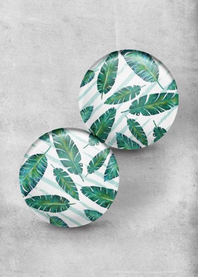 Green Leafes White Print