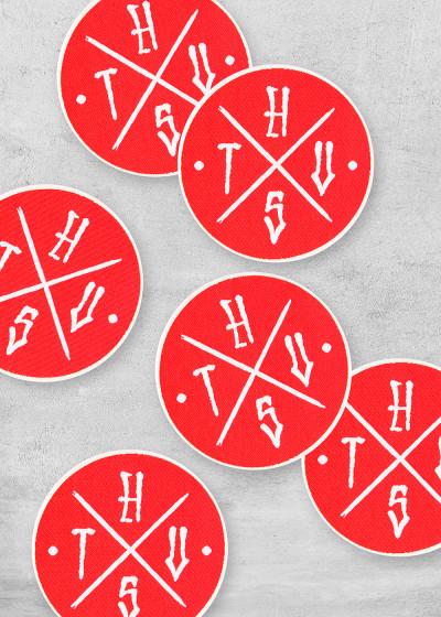 Aufbügler Cross Logo Red einzeln