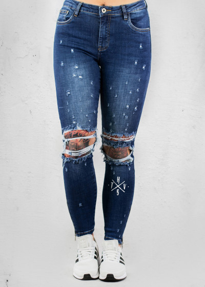 Destroyed Zip Blue Jeans
