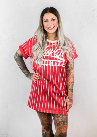Baseball Shirt Dress Red